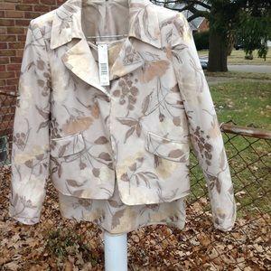 Ellen Tracy  champagne skirt suit size 12